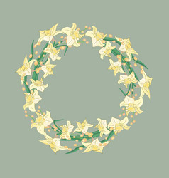 wreath of daffodils watercolor floral design vector image