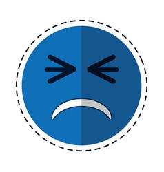 cartoon unhappy face emoticon funny vector image vector image