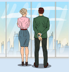pop art business people looking at city vector image vector image