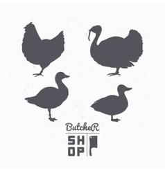 Set of farm birds silhouettes Chicken turkey vector image