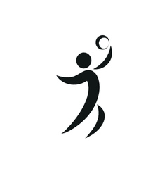 Volleyball icon on square monochrome vector image vector image