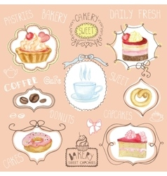 Watercolor sweet cakes label setcafe logo vector