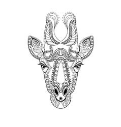 Zentangle Giraffe head totem for adult anti stress vector image vector image