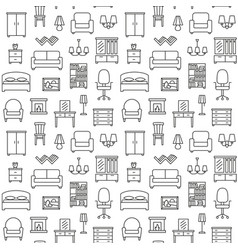 furniture linear icons seamless pattern background vector image vector image