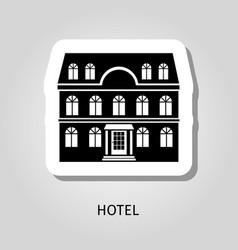 hotel black building sticker vector image vector image