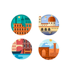 italy set icon rome and venice vector image