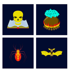 Assembly flat book skull potion vector