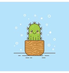Cute cartoon cactus character vector image