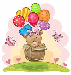 cute teddy bear girl with balloons vector image