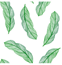 graphic seamless pattern from green leaves vector image