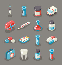isometric 3d sign health medical hospital vector image vector image
