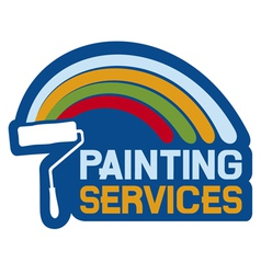 Painting services label vector