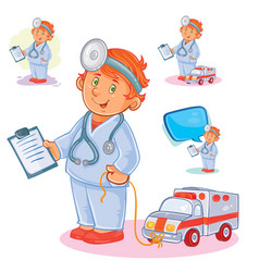 set icons of small child doctor and his toy vector image vector image