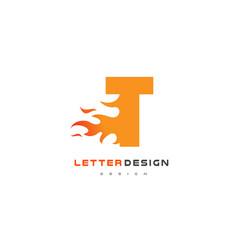 t letter flame logo design fire logo lettering vector image