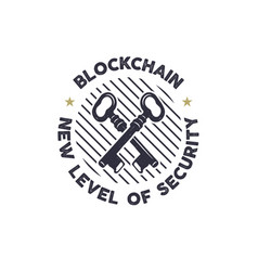 blockchain - new level of security emblem concept vector image vector image
