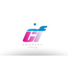 cf c f alphabet letter combination pink blue bold vector image vector image