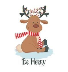 Christmas deer Cute reindeer on a white background vector image