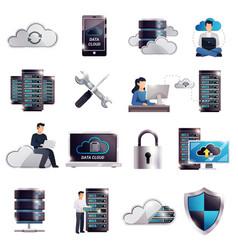 datacenter hosting server cloud set vector image