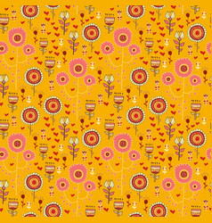Doodle wild flowers seamless pattern vector