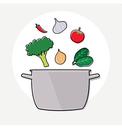 Food ingredient and pot vector