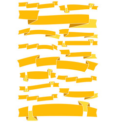 set of fifteen yellow cartoon ribbons and banners vector image