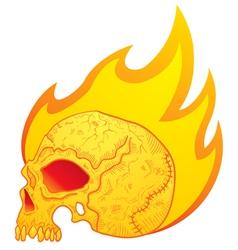 skull in flames vector image vector image