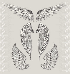 three sketches of wings vector image