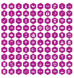 100 eco icons hexagon violet vector