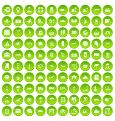 100 luggage icons set green circle vector