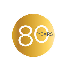 80th anniversary gold banner template eightieth vector