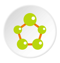 Abstract green molecules icon circle vector