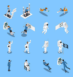 Astronauts isometric icons collection vector