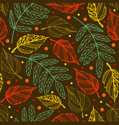 autumn leaves seamless pattern autumn background vector image