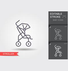 Baby stroller line icon with editable stroke vector