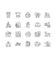backpack line icons signs set outline vector image