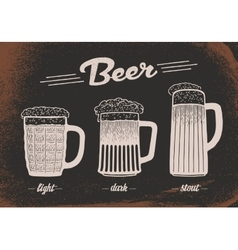 Beer set vintage sketch old paper texture vector