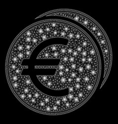Bright mesh carcass euro coins with flash spots vector