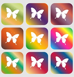 Butterfly icon Nine buttons with bright gradients vector
