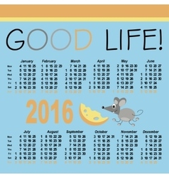Calendar 2016 design template in vector image