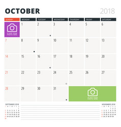 calendar planner for october 2018 design template vector image