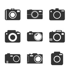 camera icon set on white background in flat style vector image