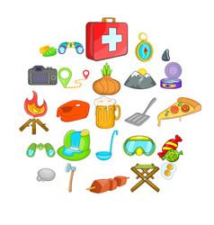 Campsite icons set cartoon style vector