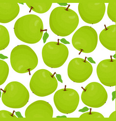 cartoon seamless pattern with green apples vector image
