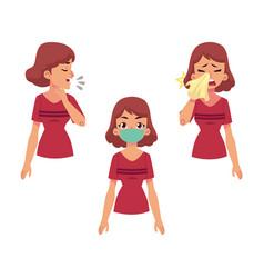 cartoon woman with illness set vector image