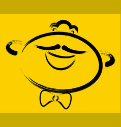 cheerful mustachioed smiley on a yellow background vector image