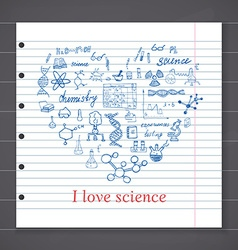 Chemistry and sciense elements doodles icons set vector