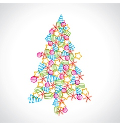christmas tree design with ball star and tree vector image