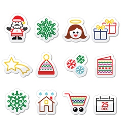 Christmas Xmas celebrate icons set vector