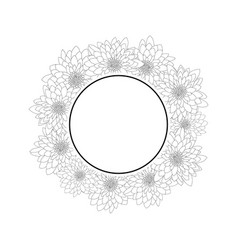 chrysanthemum outline banner wreath vector image