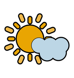 cloud partially covering sun icon image vector image